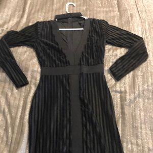 Midi length dress with velour stripes